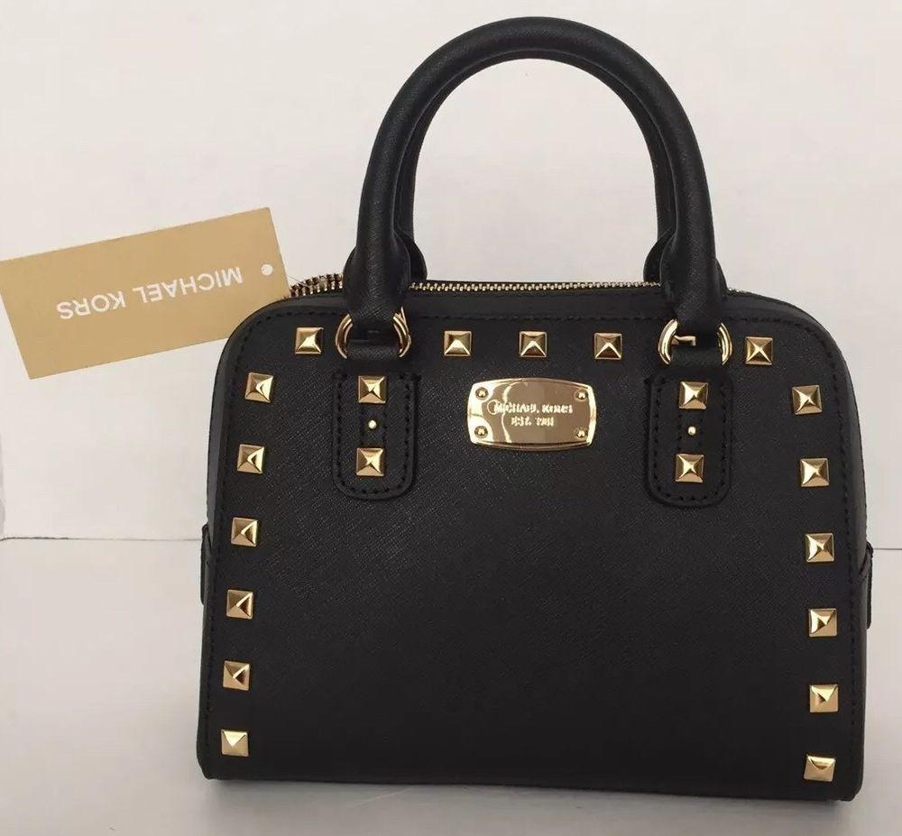 MICHAEL KORS Saffiano Stud~ Black NWT Studded Mini Satchel Bag ...