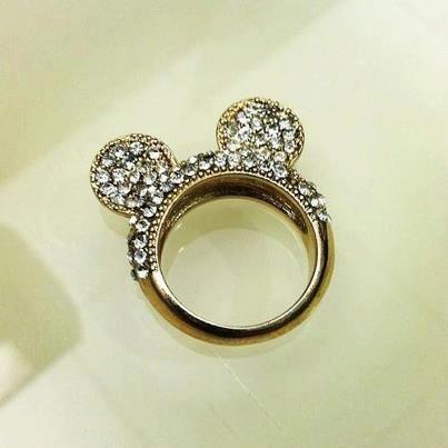 Mickey Mouse Rhinestone Ring Anillos disney, Joyas de