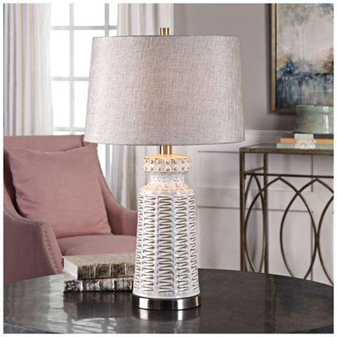 Uttermost Kansa Gloss White Embossed Ceramic Table Lamp 13y53
