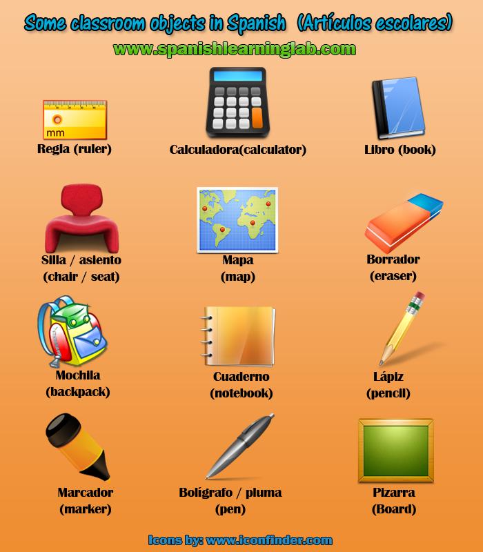 La clase in spanish classroom objects items in spanish for 10 objetos en ingles del salon de clases
