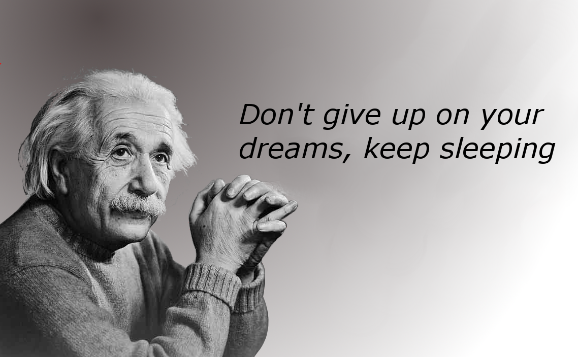 Don T Give Up On Your Dreams Keep Sleeping In 2021 Funny Motivational Quotes Einstein Quotes Dreaming Of You