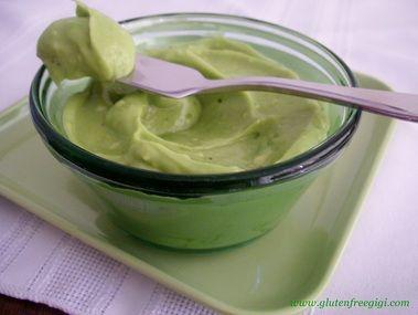 Avo Mayo --   1 ripe avocado,  Juice of 1/4 lemon or more,  1/4 tsp garlic powder,  1/4 tsp black peper,  1/4 tsp sea salt,  3 Tbls light olive oil.