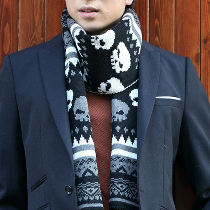 Fashion Autumn and winter men warm scarf knit wool skull design scarves Korean men cashmere knitted pashmina
