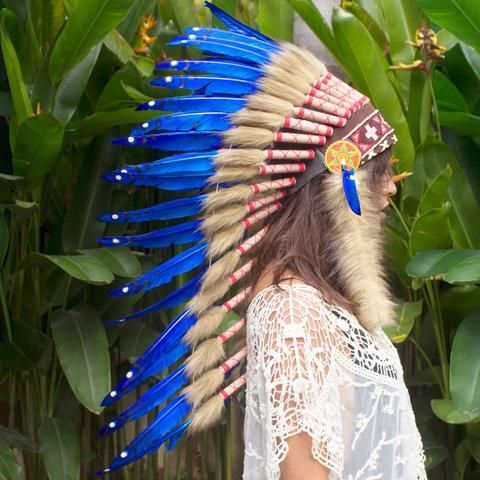 Native American Indian Style Feather Headdress Black /& White Duck ADJUSTABLE
