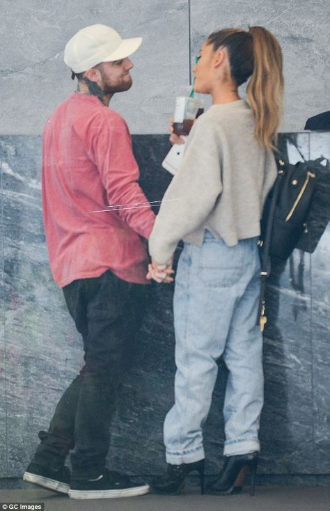 Ariana Grande and her beau Mac Miller hold hands as they grab coffee #macmiller