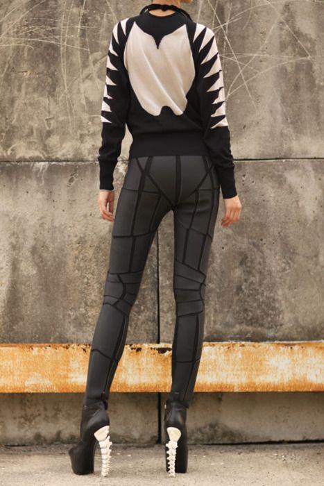 Pants by Gareth Pugh, sweater unknown (as yet), heels poss Alexander McQueen??  #fashion #design
