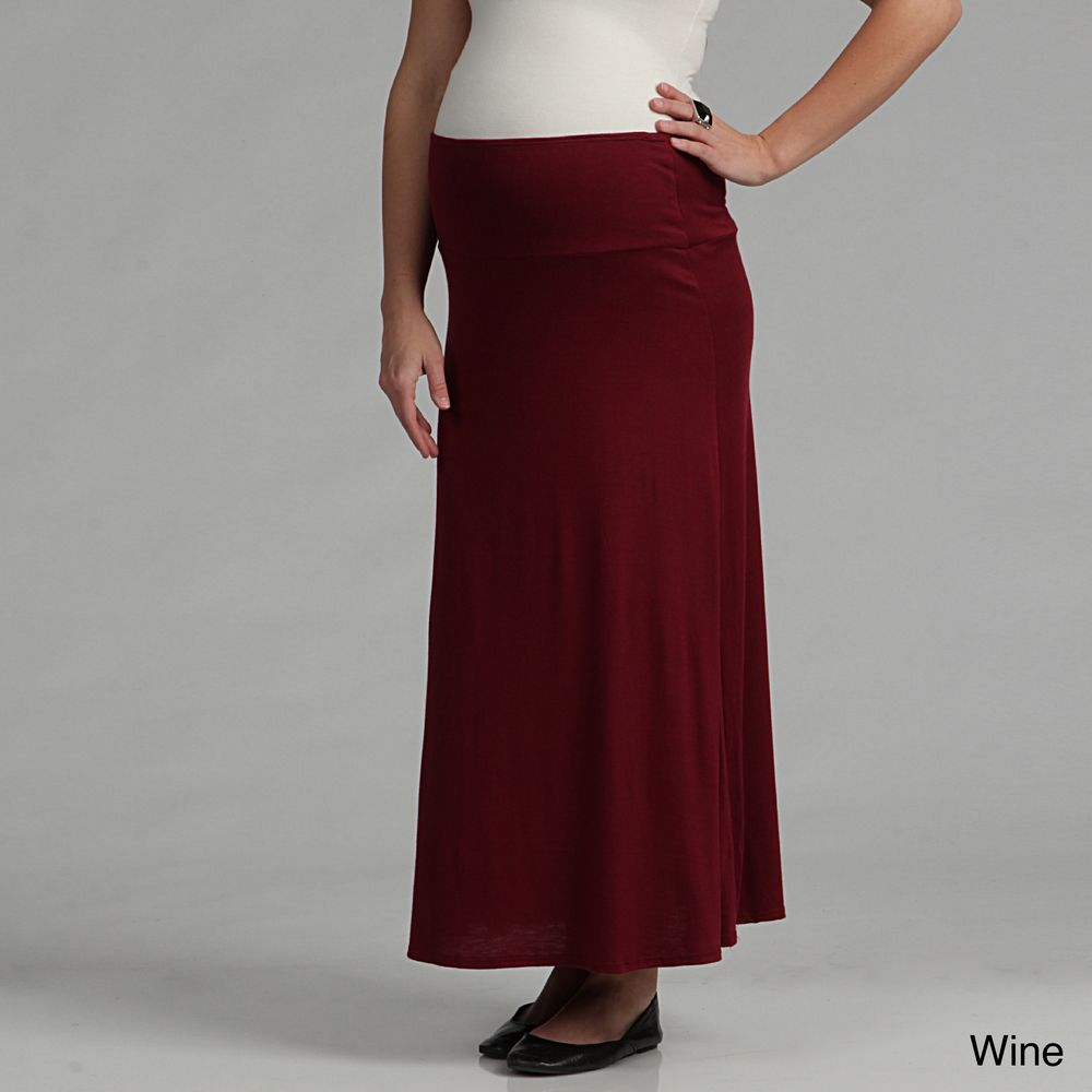 Black Roll-Over Maternity Skirt   Maternity skirt, Long