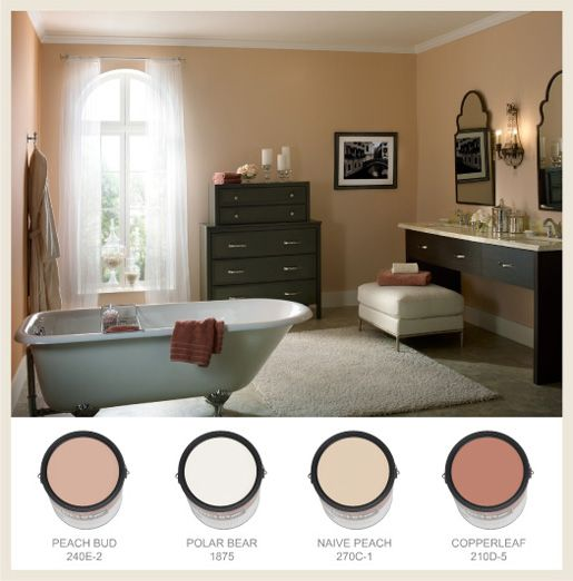 What color wood goes with peach walls google search for Peach colored bathroom ideas