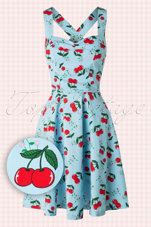 50s Blindside Cherry Dress In Fresh Blue Cherry Dress Dresses Vintage Dresses [ 1530 x 1020 Pixel ]
