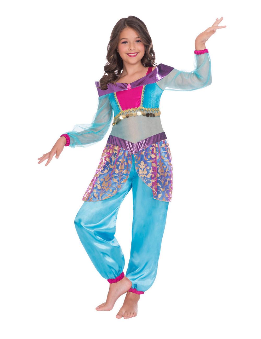 Orientalischer Flaschengeist Kostum Fur Madchen Bauchtanzerin Blau