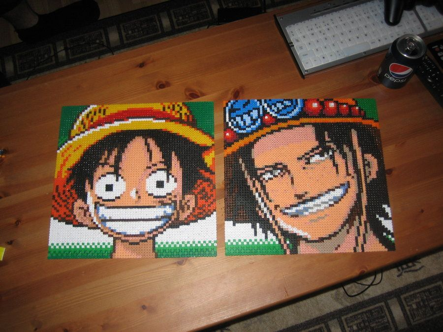 Luffy & Ace One Piece perler beads by Zakkyy on