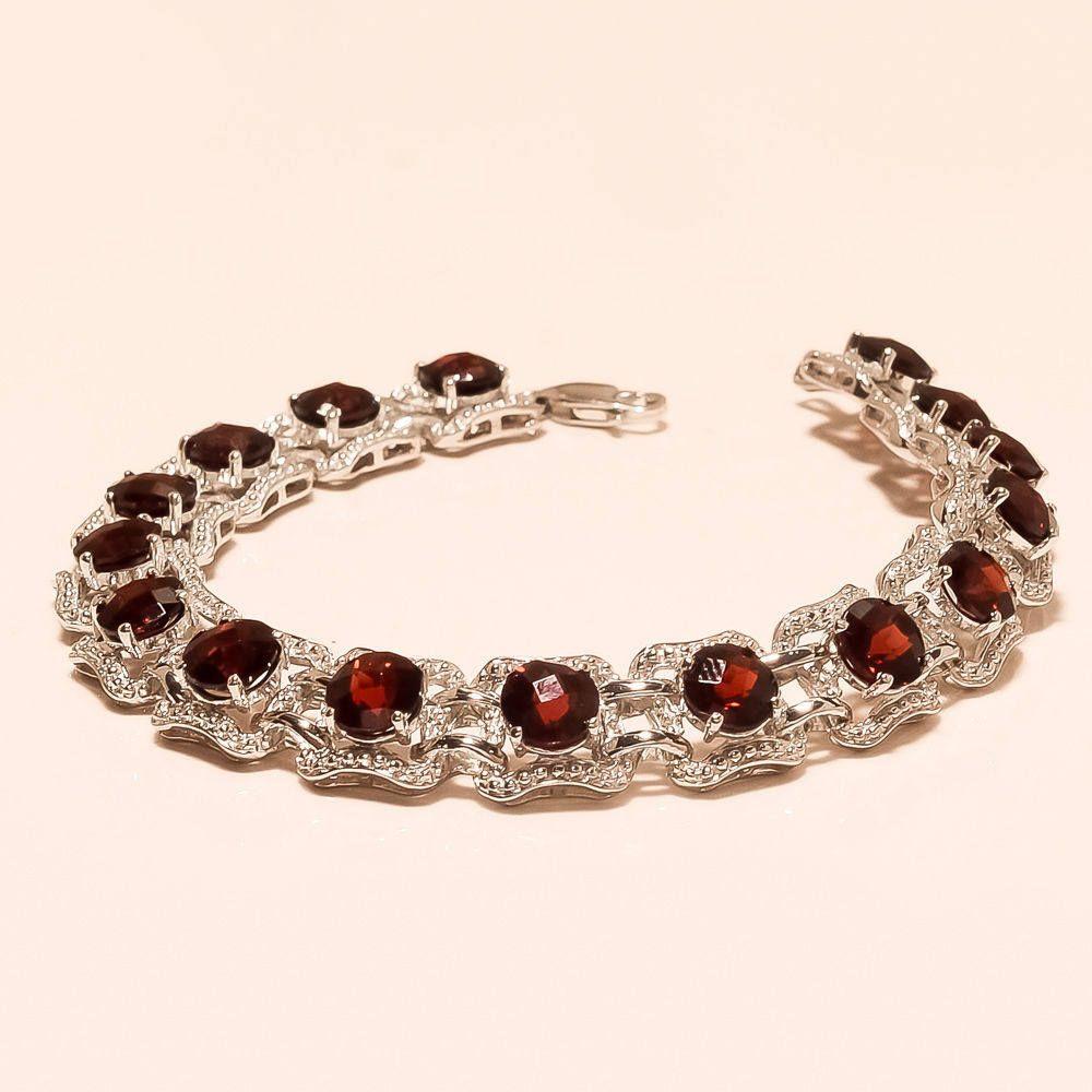 Red Garnet Gemstone Tennis Bracelet 925 Silver Handmade Women/'s Jewelry