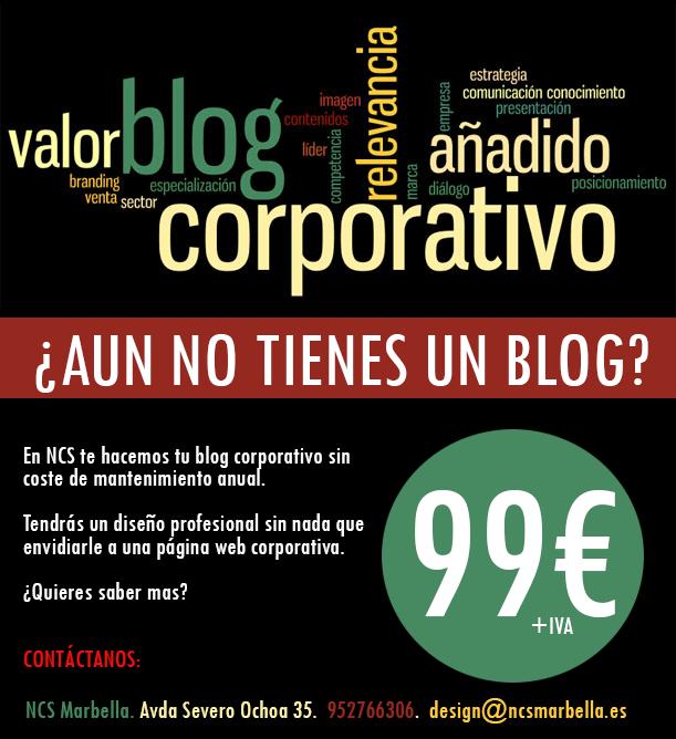Tu blog corporativo por sólo 99€ en NCS Marbella.