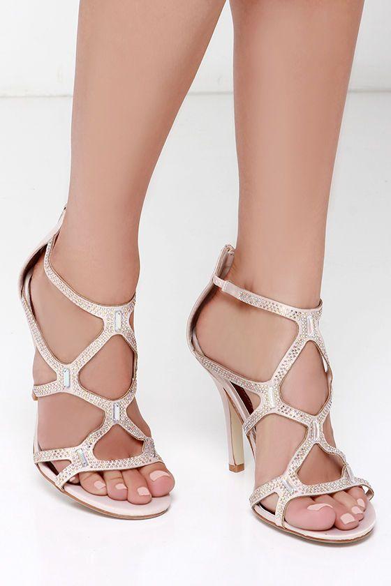 d824e683306c Madden Girl Digitize Blush Satin Rhinestone Dress Sandals at Lulus.com!