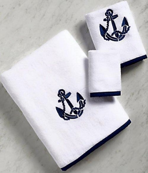 Ordinaire Our Bias Trim Anchor Towels Start With A Luxurious White Cotton Terry, Add  A Smart Bias Trim In Nautical Navy And Top It Off With A Single, ...