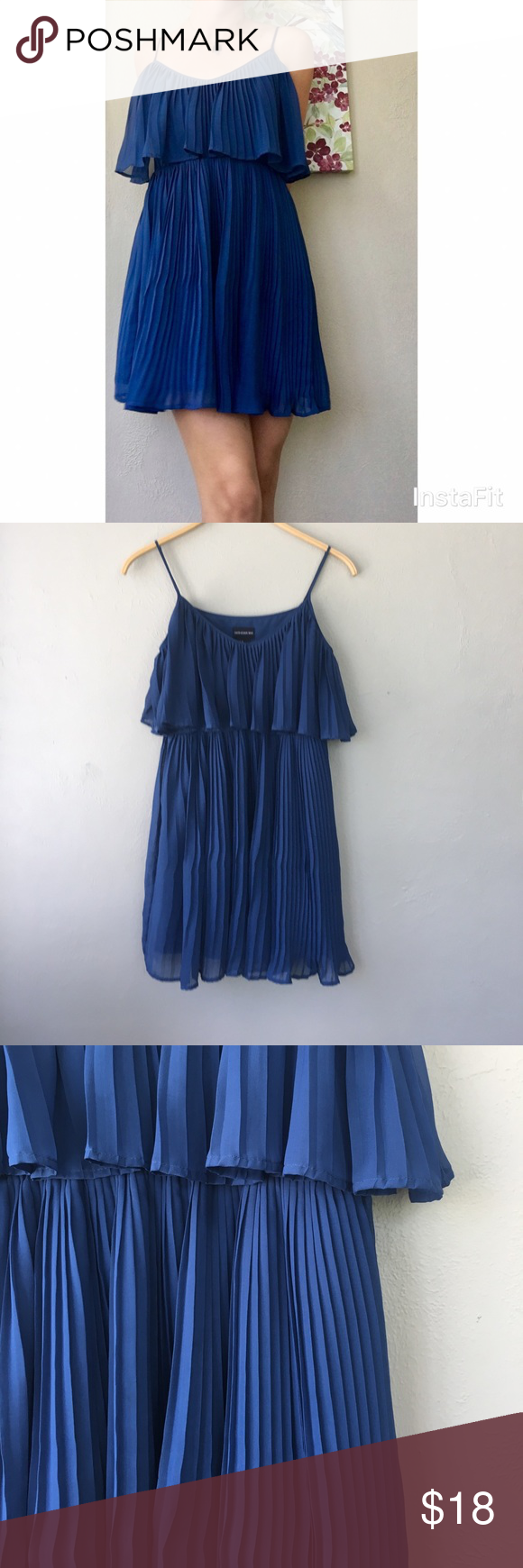Fun and flirty royal blue pleated dress Short, pleated Central Park West dress in a beautiful royal blue color. Super comfortable and looks great dressed up with heels. Well loved with a couple of nicks, but barely noticeable because of the pleats. 100% polyester Central Park West Dresses Mini