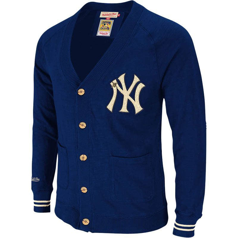 huge discount 0b3b9 035a3 MITCHELL & NESS New York Yankees Navy Head Coach Cardigan ...