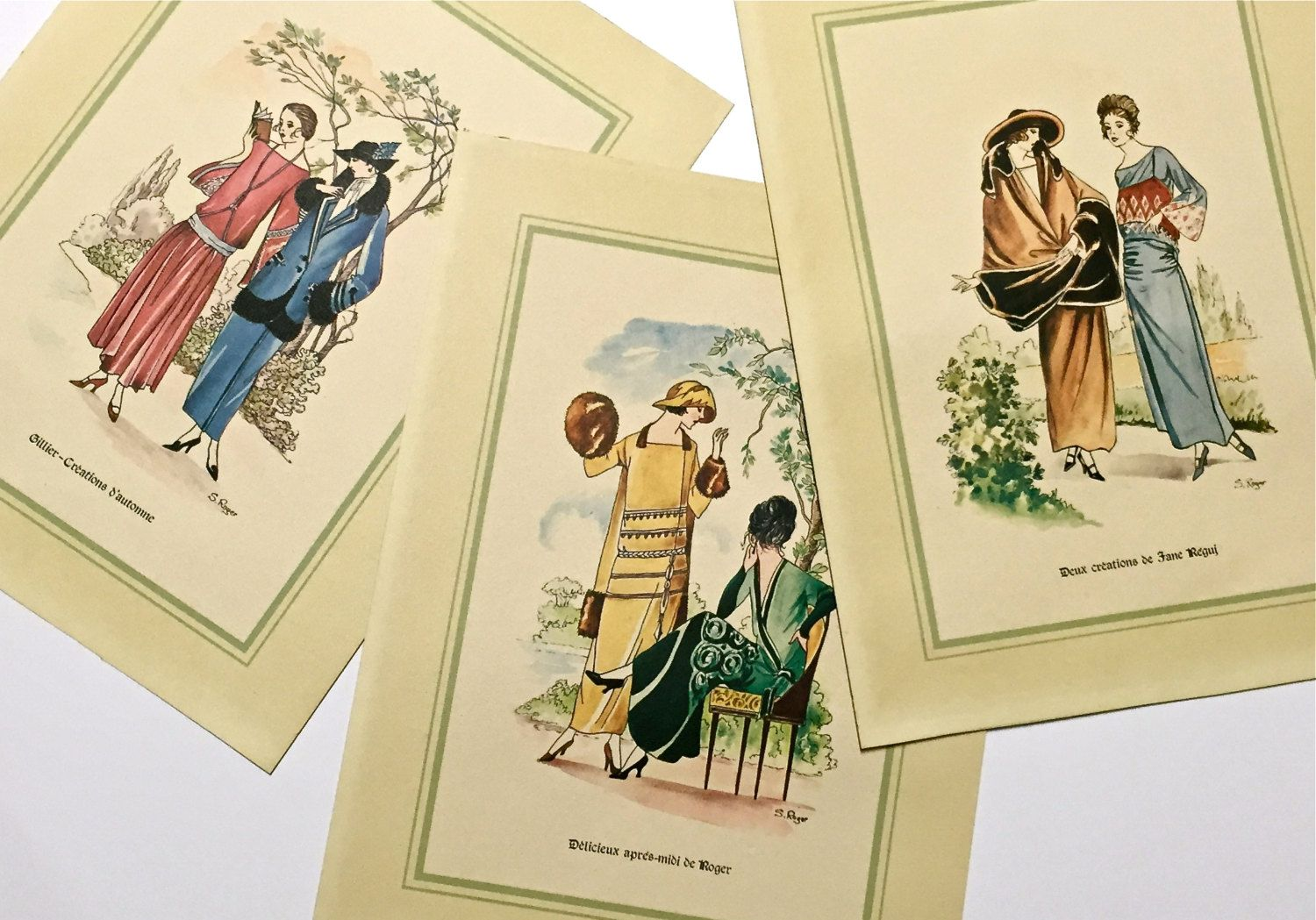 Set of Three Fabulous Vintage French Fashion Prints 1920\'s Art Deco ...
