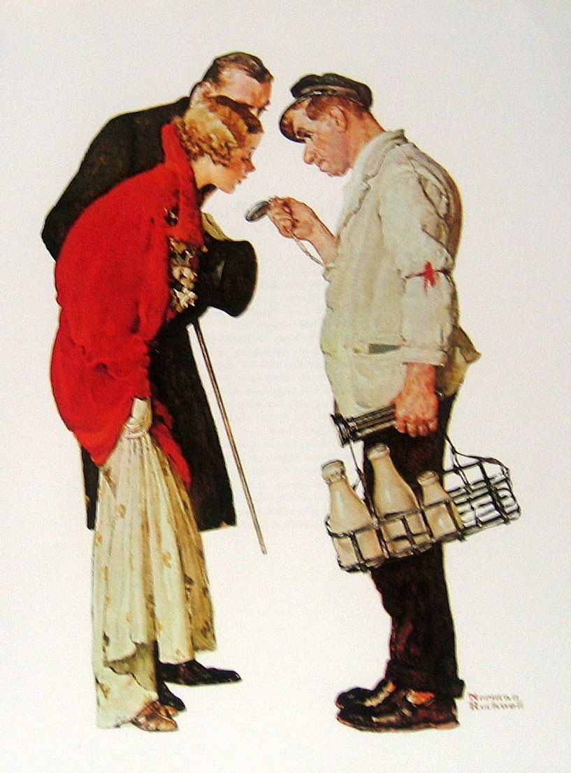 Milkman and young couple.  Norman Rockwell
