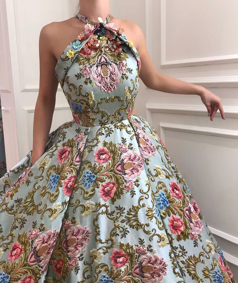 28 Prom Dresses That Will Make You The Prom Queen - Halter neckline printed ball gown dress, Prom dress #promdress #bluedress