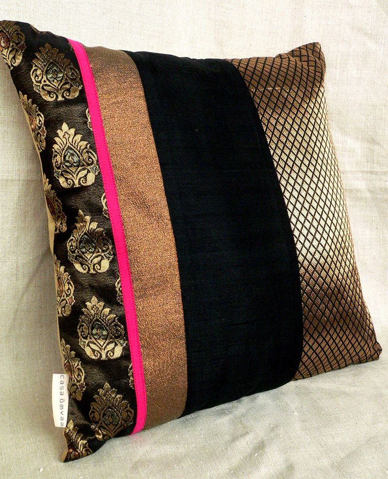 Red and gold large Indian brocade designer cushions
