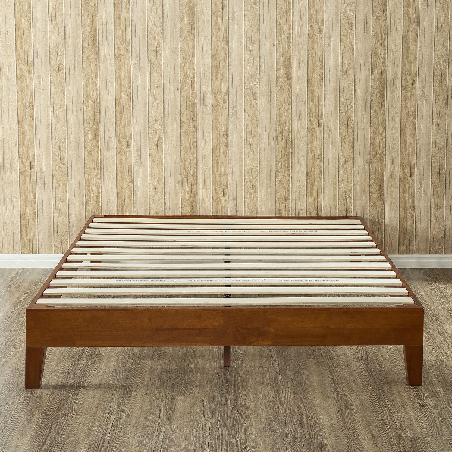 Queen Size Solid Wood Low Profile Platform Bed Frame In Cherry