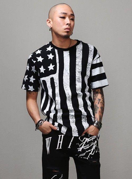Mens Dusty American Flag Allover Print 1 2 T Shirt At Fabrixquare Shirts Mens Tops Men Casual
