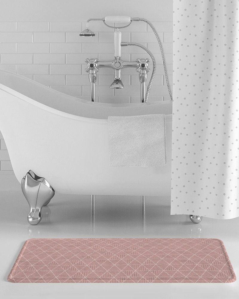 Blush Geometric Bath Mat Pink Bathroom Decor Coral Bathroom Decor Rose Bathro Bath Bathro Blue Bathroom Decor Yellow Bathroom Decor Teal Bathroom Decor [ 1000 x 800 Pixel ]