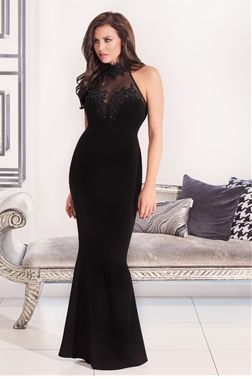 6f3147cf28 Jessica Wright Aurelia Black VIP Embellished Mesh Lace Trim Halterneck Maxi  Dress
