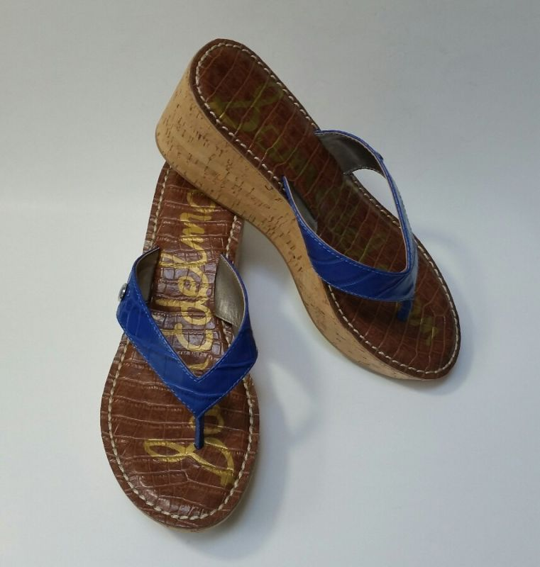 458b9e810258 Sam Edelman Sandals Shoes Thong Platform Cork Heels Blue Croc Romy NWOT Size  9