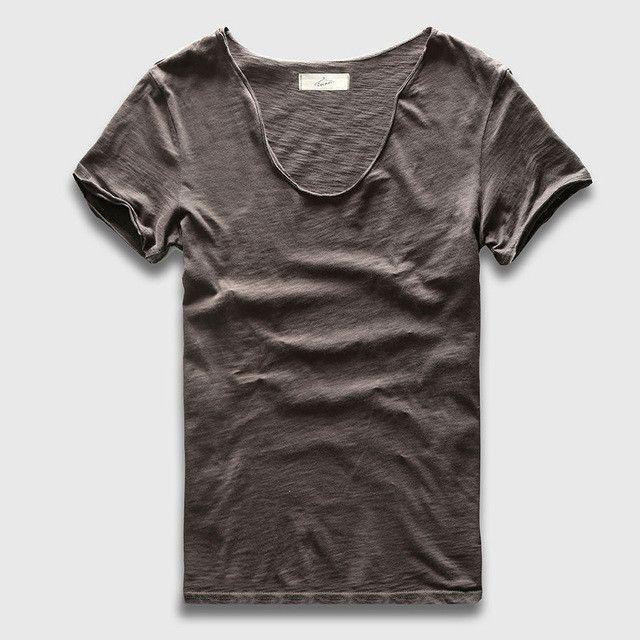 Men Basic T-Shirt Solid Cotton V Neck Slim Fit Male Fashion T ...