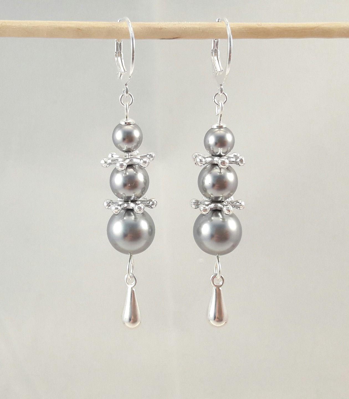 Boucles d'oreilles Longues Pendantes Perles Strass Long Earrings Ohrringe Perlen