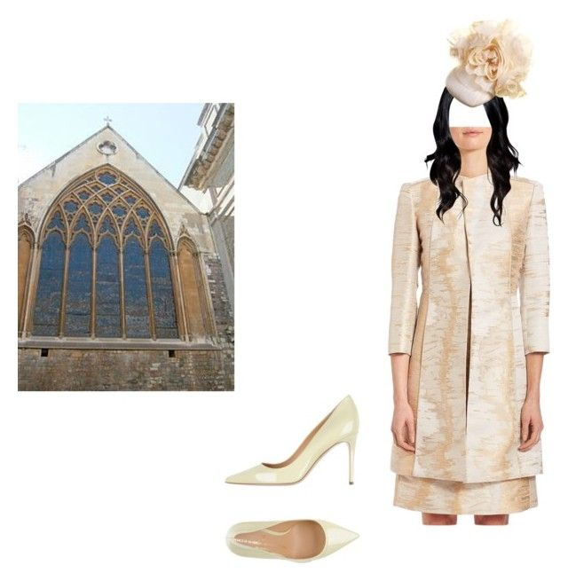 """""""Flashback: Queen Carol Attends Church Service For International Women's Day"""" by chelseaofwales ❤ liked on Polyvore featuring Lafayette 148 New York, Philip Treacy and V Italia"""