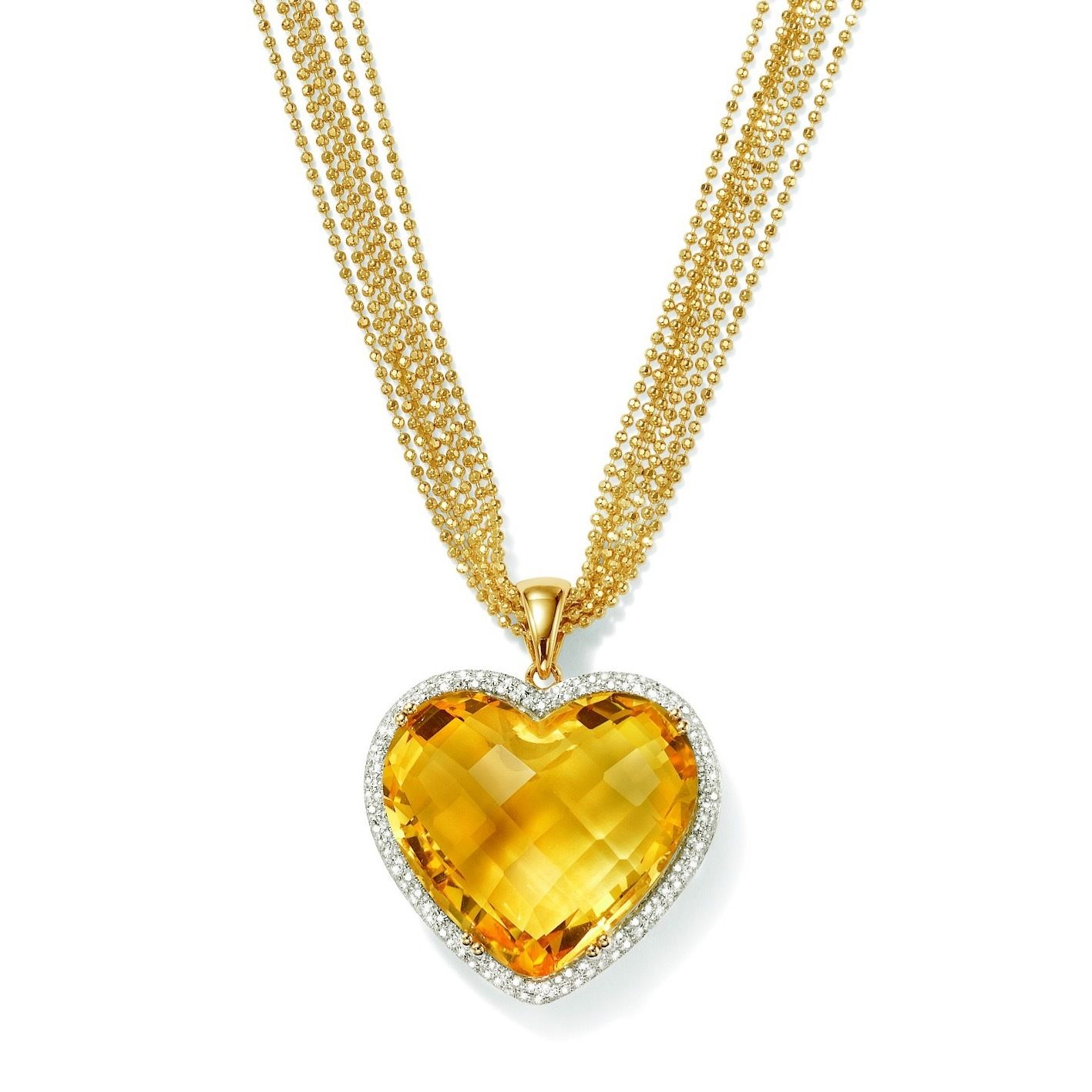 2000 carat citrine and 43 ct tw diamond heart pendant in 14kt our 2000 carat citrine heart pendant trimmed in diamonds will steal the show single bale mozeypictures Image collections