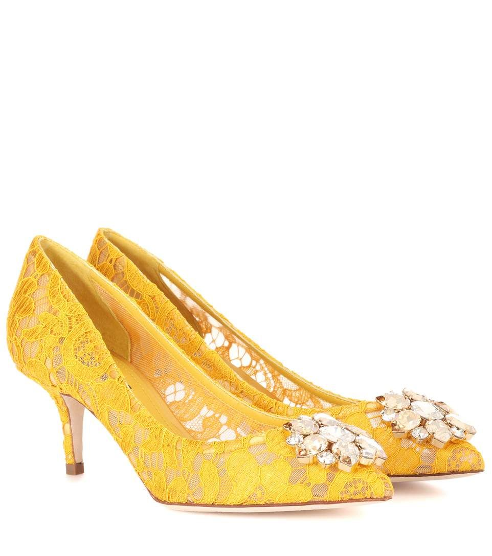 65fa04f2e4f DOLCE & GABBANA Bellucci Embellished Lace Pumps. #dolcegabbana ...