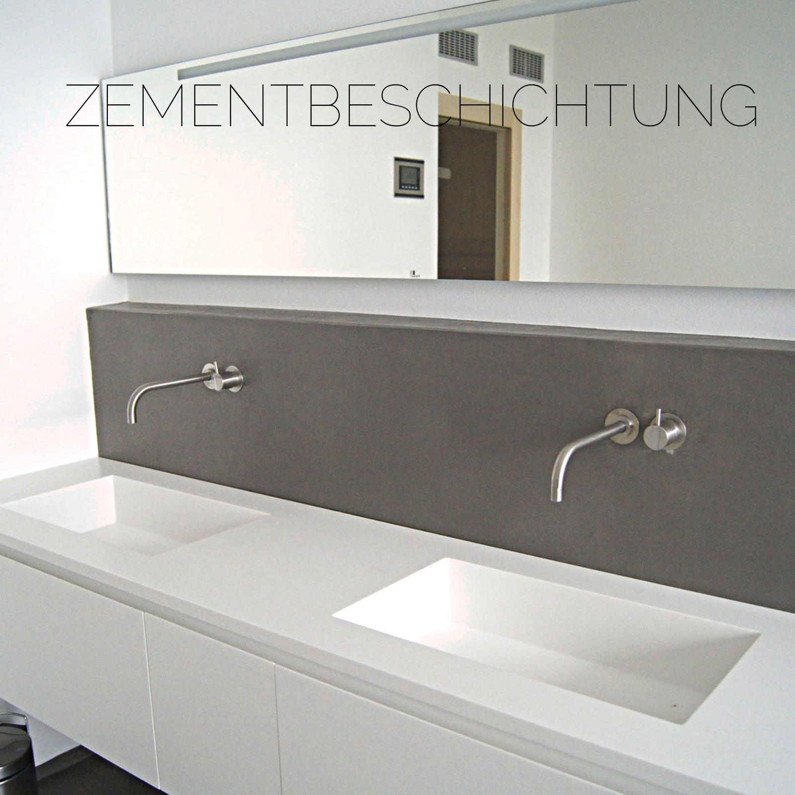 Zementbeschichtung über dem Waschbecken wasserfest