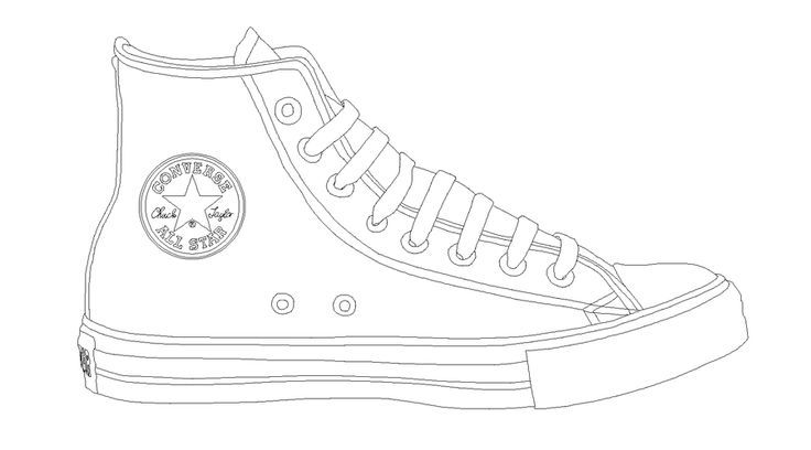 Converse Tennis Shoe Template Sneakers Drawing Converse Shoe
