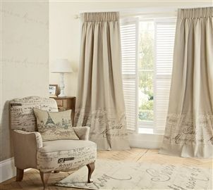 Buy French Script Printed Pencil Pleat Curtains From The Next UK Online Shop