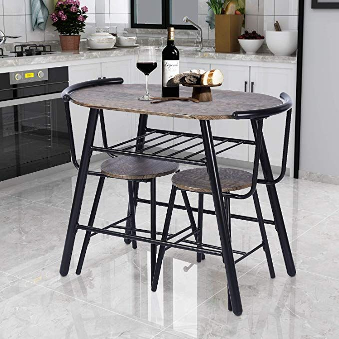 Greenforest 3 Piece Dining Table And Chairs Set Modern Breakfast Sets Rustic Bistro Bar Pub Restaurant Kitchen