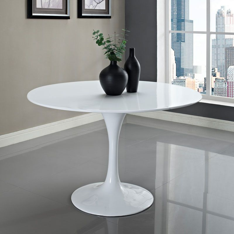 Odyssey Dining Table High Gloss Fiberglass With A Tulip Base