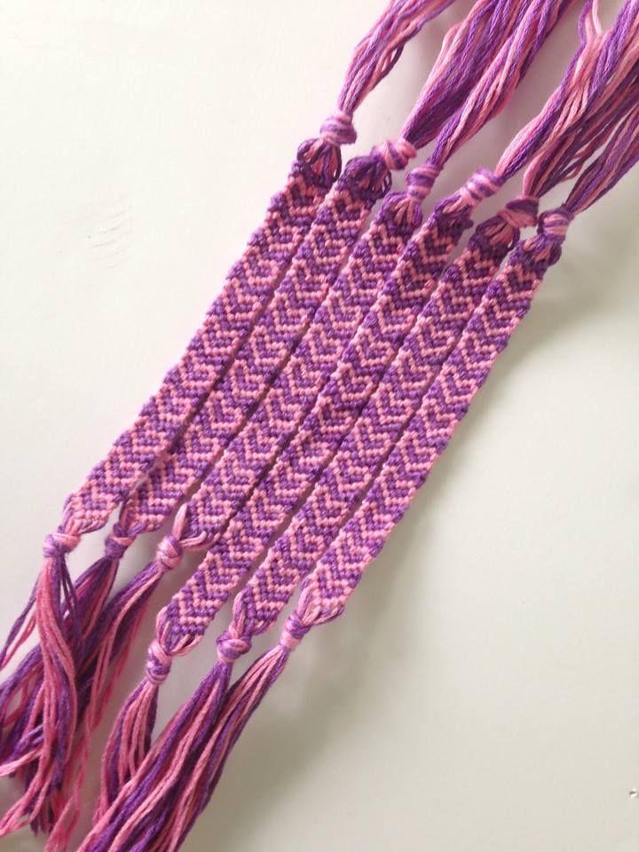 Pink & Purple Heart Friendship Bracelets from clambonebracelets.etsy.com