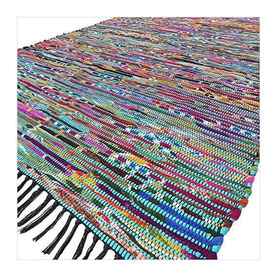 Eyes of India - 5 X 7 ft Blue Colorful Chindi Woven Rag Rug Bohemian Boho Decorative Indian - Size:...