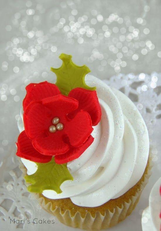 Cupcakes Navideños y Cómo Hacer Flor de Pascua