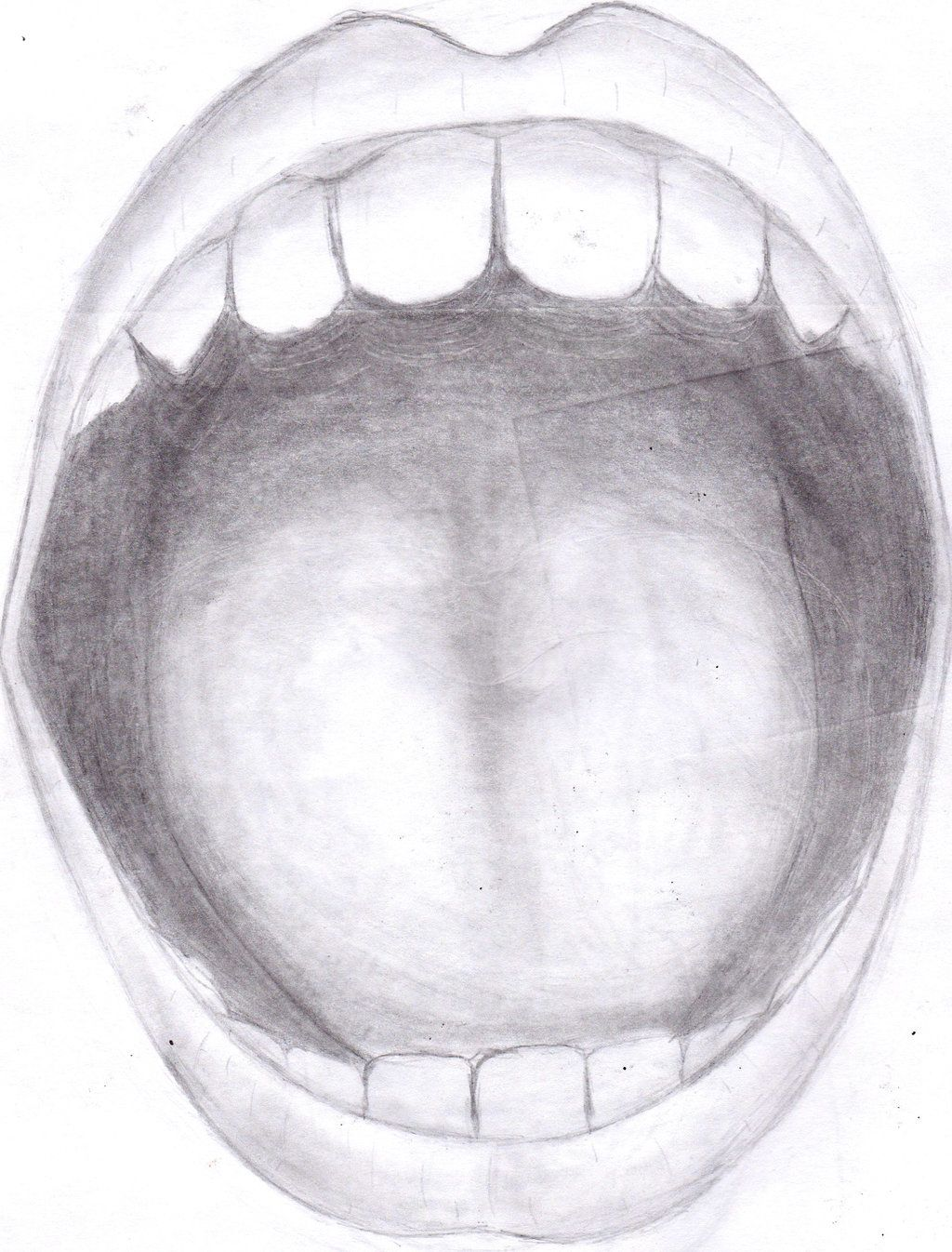 Open mouth front view drawing open