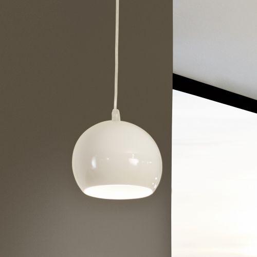 Moderne Hängeleuchte Petto 1 aus Stahl in weiß