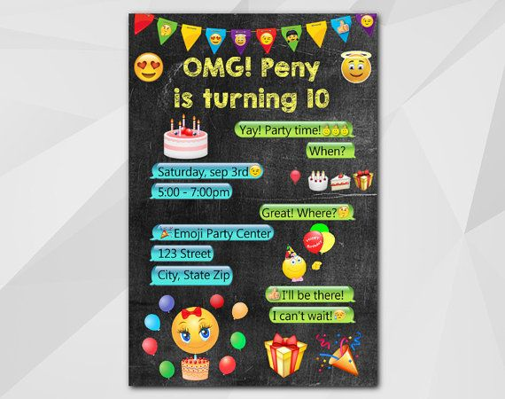 Emoji #Birthday Card by DigiInvites **This listing is for a - birthday cards format