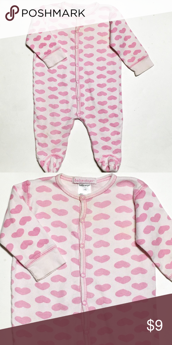 Boutique Pink Heart Cotton Footie Size 6 months. 100% cotton. Shows a big of fade . Great boutique brand with lots of life left! Baby Steps One Pieces Footies