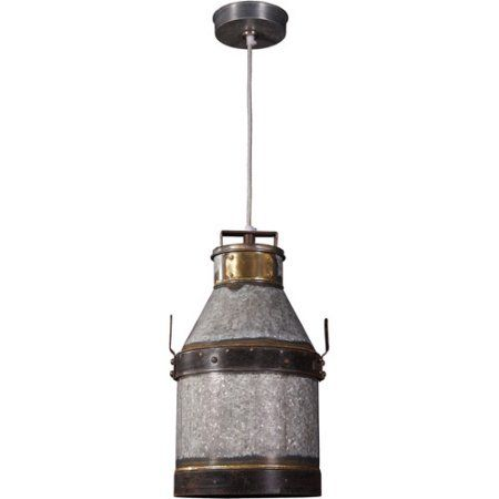 Kenroy Home Cudahy 1-Light Pendant, Galvanized Iron with Bronze Accents, Multicolor