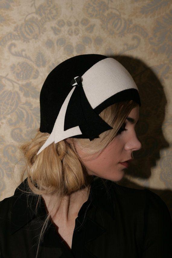 Flapper Cloche Hat Hand Made Felt Hat Black by LesZiegfeldfollies ...