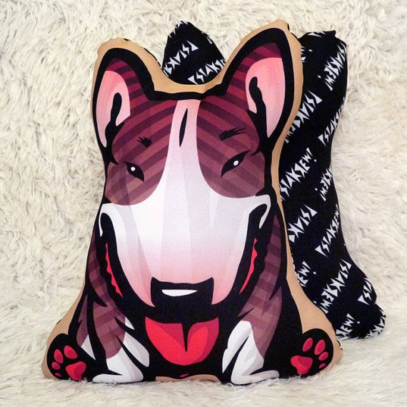Decorative Dog Pillow Cushion Bull Terrier Brindle by PSIAKREW